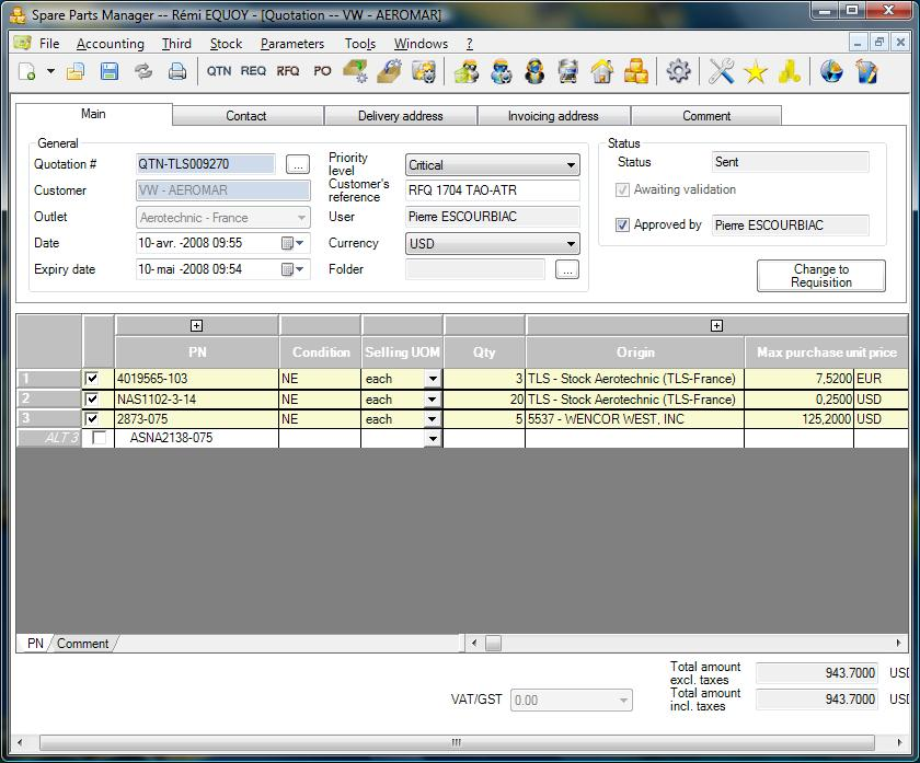 SPM Aviation Dedicated Software Inventory Control Purchase
